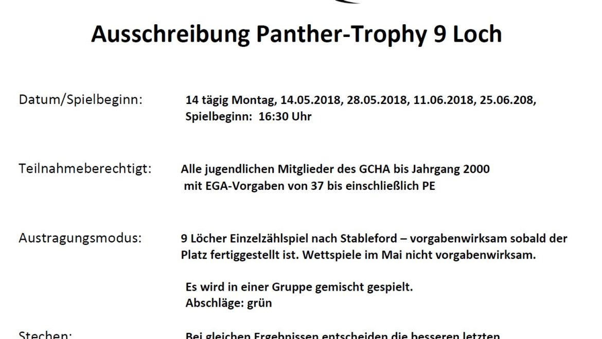 Wettspielserie Panther Trophy